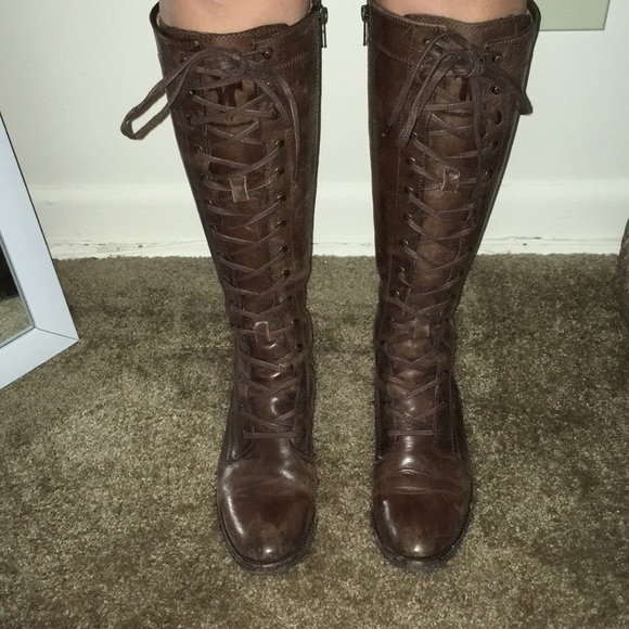 42a841d02e4 Frye Melissa tall lace up boots brown